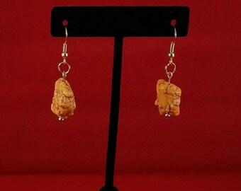 Orange rock stone earrings