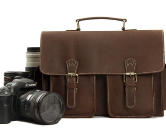 SALE Handmade Vintage Genuine Leather DSLR Camera Bag SLR Camera Bag Leather Camera  Bag Large Briefcase Messenger Bag