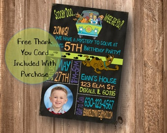 Scooby Doo Birthday Party Invitation, Scooby Doo Chalkboard Invite, Mystery Machine, Photo, Digital Download, Printable, Free Thank You Card
