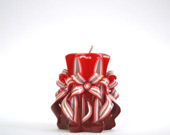 Carved candle red candle Christmas candle Home design decor unique gift present gifts for men gifts for woman