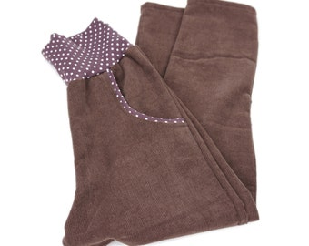 Kids trousers size 110, brown corduroy, polka dot Jersey