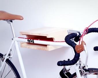 Bike rack in natural poplar wood