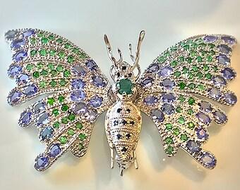 Butterfly Bliss' Tanzanite Sapphire Tsavorite Garnet Brooch Sterling Silver 14kt White Gold
