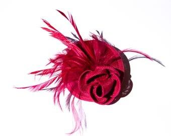 Beautiful Raspberry Sinamay Headpiece