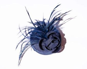 Beautiful Dark Blue Sinamay Headpiece