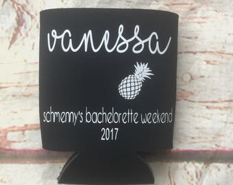 Bachelorette Party Favors - Pineapple Bachelorette Can Coolers - Wedding Favors - Personalized Bridesmaid Gift  - Bachelorette Party