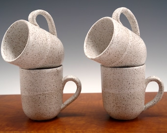 Stoneware Coffee Mugs -- White Speckled Mugs  (Set of 4)