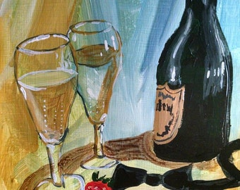 Original Painting - Champagne, Wedding, New Year's Eve, bubbly, romantic still life