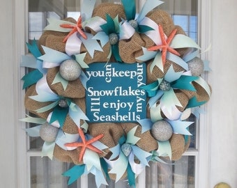 Winter Beach Burlap Wreath