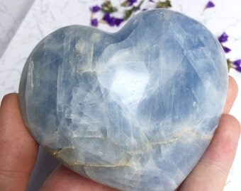 Large Blue Celestite Crystal Heart