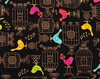 Birds and Cages Dan Morris Design for Quilting Treasures by the Half Yard