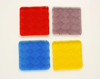 Fused glass coasters, set of four drinks coasters with harlequin design