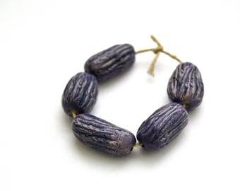 5 purple-blue textured handmade ceramic beads, handmade  rustic white clay beads, jewelry supplies, fullofspace
