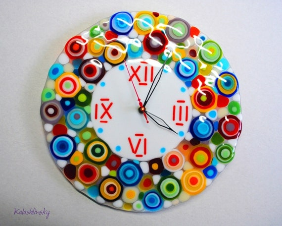 Handmade Fused Glass Wall Clock Rainbow Rain Wall