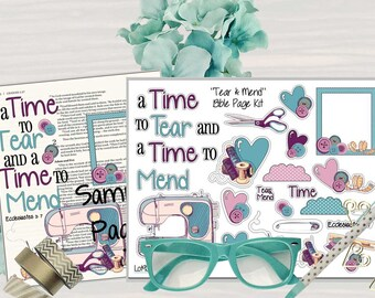 """Printable Bible Journaling Page Kit - """"Tear and Mend"""" - Complete kit for Bible Pages or Journals. Fits all Journaling Bibles."""