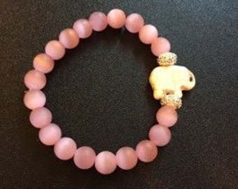 Pink Glass with Elephant - Handmade Beaded Bracelets