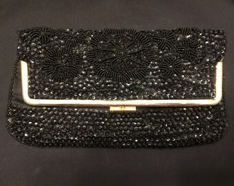 Vintage Black Beaded and Sequin Folding Clutch