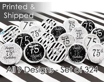 Celebrate 75th Birthday - Stickers for Hershey Kisses, Silver Glitter Theme Birthday - Envelope Seals - 75th Decorations Favors (Set of 324)