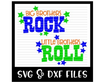 Big Brothers Rock Little Brothers Roll Cut File - DXF & SVG Files - Silhouette Cameo, Cricut