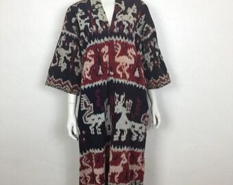 Vtg 70s cotton ikat fringe ethnic caftan dress small