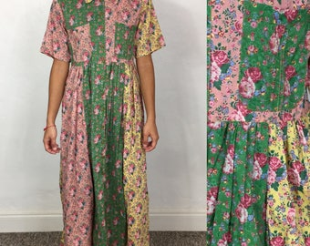 Vtg 80s floral colorblock grunge cotton india gauze small
