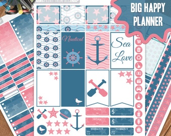 Nautical, BIG Happy Planner Stickers Printable, Monthly/Weekly Kit, Planner kit,Planner Stickers, BIG Happy Planner kit, Instant download
