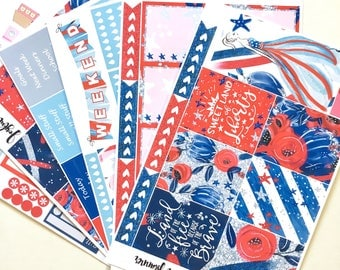 4th of July planner stickers weekly kit:  STARS AND STRIPES summer patriotic planner stickers made for eclp mambi happy planner