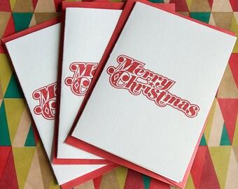 Letterpress Christmas Card 3-PACK - Retro Merry Christmas Ornament, Vintage Christmas Card, Retro Holiday Card, Mid Century Christmas Card