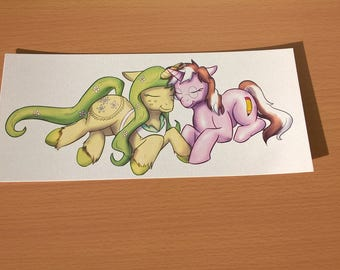 Pink and Yellow unicorn print My little pony original characters cute digital artwork