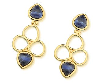 Blue earring, bridesmaid earring,natural stone earring, blue sodalite, gold plated, gift for her, special occasion jewelry, gemstone earring