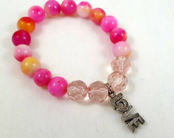 Rose Pink and Yellow Jade Beaded Bracelet-Stackable/Stack Bracelets/Charm Bracelet/Jewelry/Stretch Bracelet/Rose Pink and Yellow Jade Beads