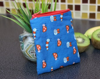 Mini Organic snack bag | Ladybugs Organic reusable bag | Organic fabric | Snack bag with zipper | Gender neutral motif | makeup pouch