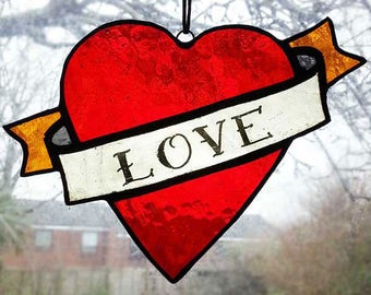 Stained Glass Sail Jerry Heart / Tattoo Style Heart / Traditional Tattoo