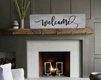 "Welcome Sign / Farmhouse Sign / Rustic Wood Sign / Fixer Upper Style / Wooden Sign / Housewarming Gift / Farmhouse Decor / 29"" x 9.25"""