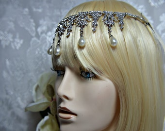GREAT GATSBY Headpiece, FLAPPER 1920s roaring 20s Crystal pearl Art Deco headpiece Great Gatsby wedding Great Gatsby accessories dress party