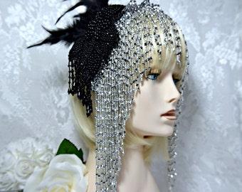 Great Gatsby Headpiece, 1920s roaring 20s flapper silver beaded headband headpiece, Gatsby wedding, Gatsby Accessories, Dress party