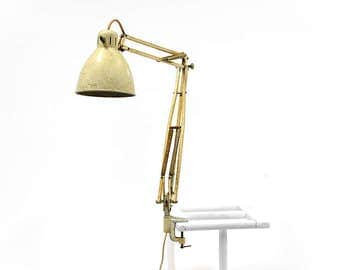 Vintage off white Luxo 1001 architect lamp by Jac Jacobsen. The original model made in 1937 with designer Jac Jacobsen printed on the shade.