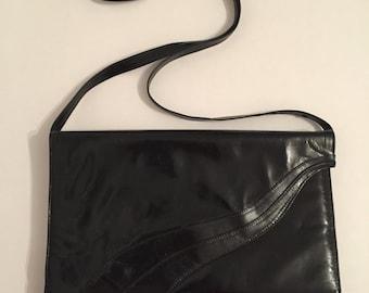 Black Leather Shoulder Bag - Vintage Black Shoulder Purse - Leather Handbag