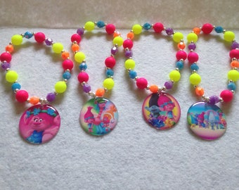 12x Trolls Party Favor Beaded Bracelets