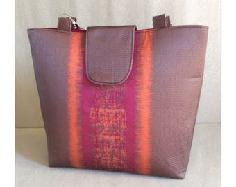 Handmade tote bag. Pink, orange, brown, fully lined, internal pockets, feet, magnetic closure. Made in Scotland.
