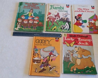 5 vintage walt disney story books & comic - snow white - goofy - bambi - the mice and circus - lady and the tramp - childrens reading