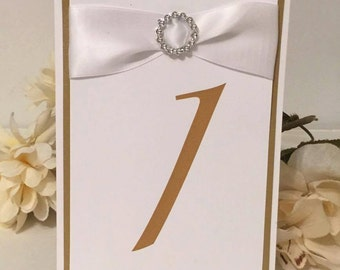 Shimmery Gold & White Table Numbers