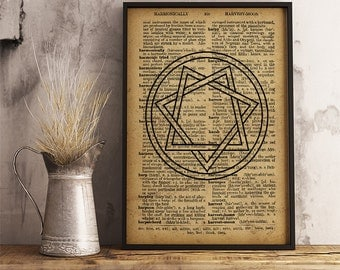 Heptagram print, Magic circle vintage style dictionary wall art, Heptagram poster (AL08)