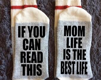 Mom Life is the Best Life - I love my mom - Raising girls loving life - Mom Needs a Hug - Socks - Wine Socks - Gifts for Mom - Novelty Socks