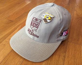 Vintage UPS Dale Jarrett #88 hat with pin robert yates racing