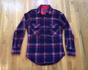 Vintage J.C. Penney wool flannel size S red white blue 70's the men's shop 70's 80's