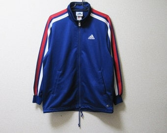 VINTAGE ADIDAS Blue Tracksuit Top / Track Jacket Sports White Red Stripes - Size S