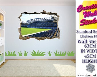 Stamford Bridge Chelsea Wall Sticker Kids Bedroom 3d hole in wall effect decal.