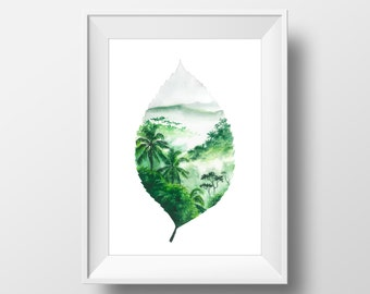 Elements, Earth, FINE ART PRINT, Leaf, Jungle, Forest, Green