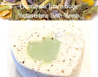 Love and Shea Chamomile  Lemon Sage Buttercreme Bath Bomb - Bathbomb - Zen- Aromatherapy  - Valentines Gift for Her